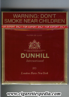 Price for pack of cigarettes Dunhill in Dublin